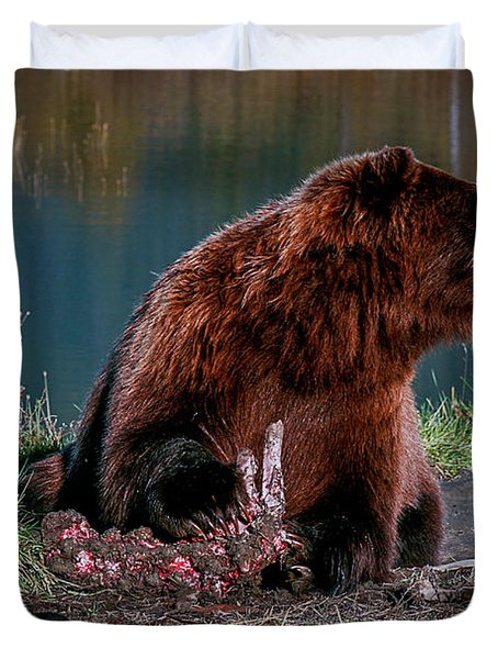 Brown Bear And Magpie Duvet Cover