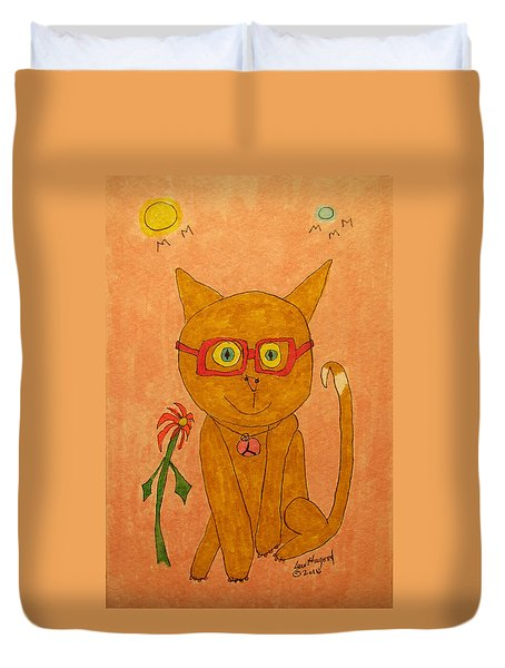 Brown Cat With Glasses Duvet Cover