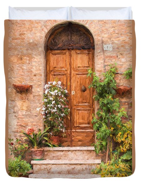 Brown Door Of Tuscany Duvet Cover