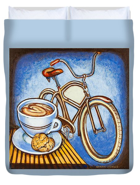 Brown Electra Delivery Bicycle Coffee And Amaretti Duvet Cover by Mark Jones