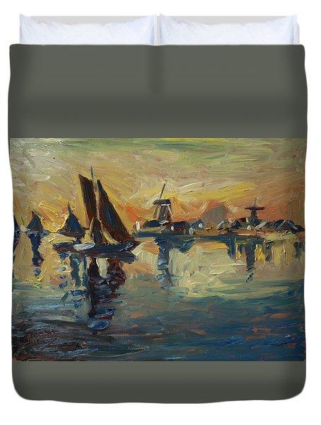 Brown Fleet On The Zaan Duvet Cover by Nop Briex