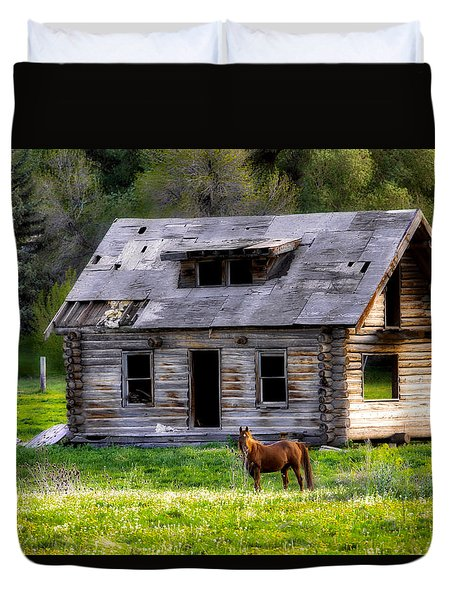 Brown Horse And Old Log Cabin Duvet Cover