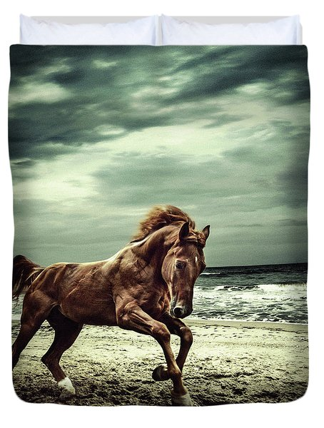 Brown Horse Galloping On The Coastline Duvet Cover