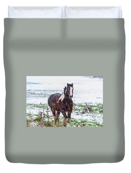 Brown Horse Galloping Through The Snow Duvet Cover