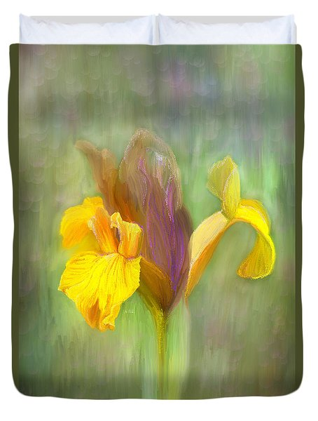 Brown Iris Duvet Cover by Angela A Stanton
