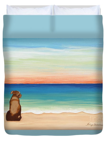 Brown Lab Dog On The Beach Duvet Cover