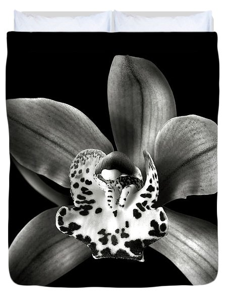 Brown Orchid In Black And White Duvet Cover