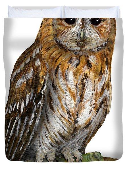 Brown Owl Or Eurasian Tawny Owl  Strix Aluco - Chouette Hulotte - Carabo Comun -  Nationalpark Eifel Duvet Cover