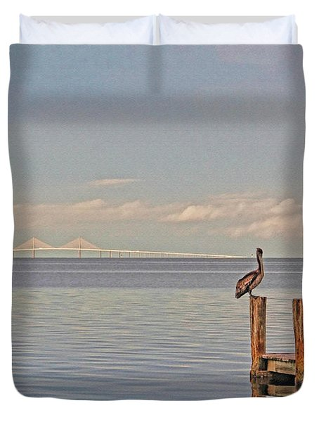 Brown Pelican Five Duvet Cover