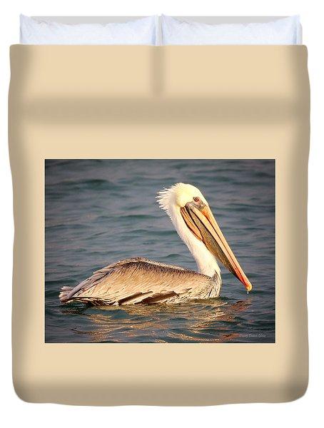 Brown Pelican Floating Duvet Cover