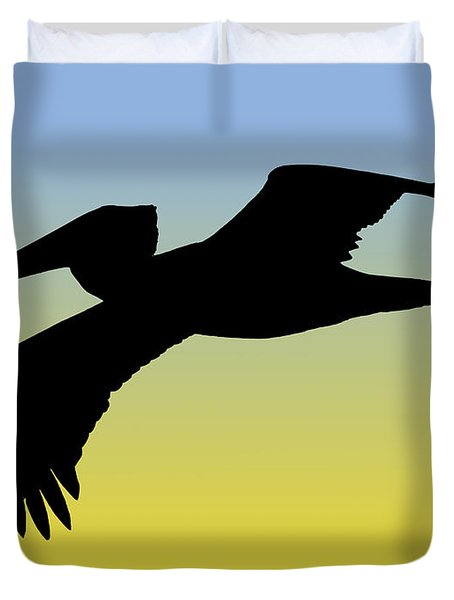 Brown Pelican In Flight Silhouette At Sunrise Duvet Cover