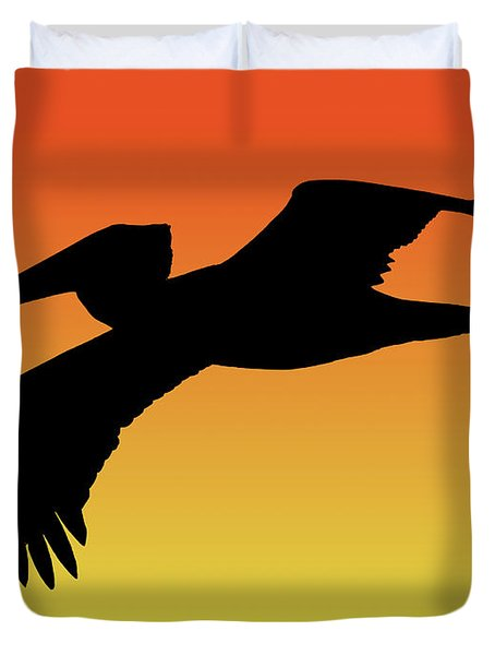 Brown Pelican In Flight Silhouette At Sunset Duvet Cover