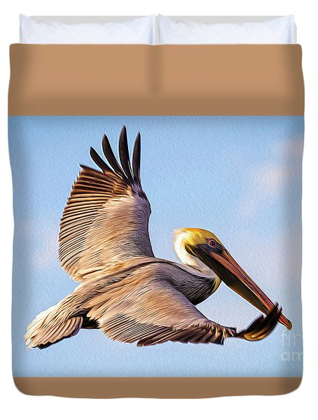 Brown Pelican In Flight - Two Duvet Cover