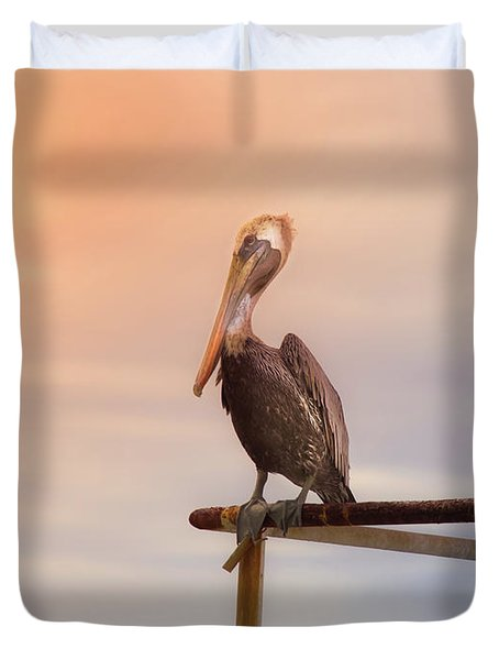 Duvet Cover featuring the photograph Brown Pelican Sunset by Robert Frederick