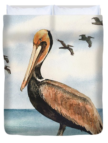 Brown Pelicans Duvet Cover