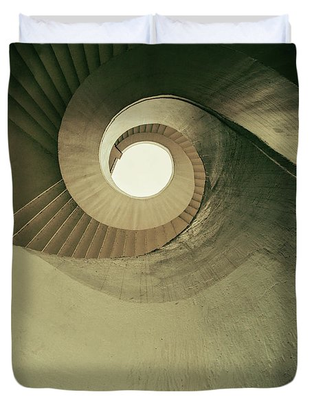 Duvet Cover featuring the photograph Brown Spiral Stairs by Jaroslaw Blaminsky