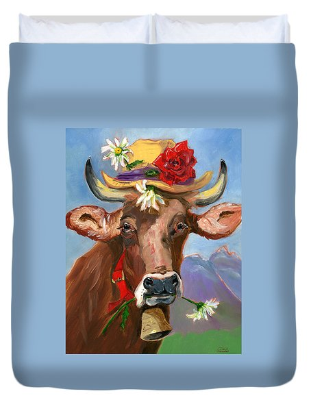 Brown Swiss In Summer Hat Duvet Cover