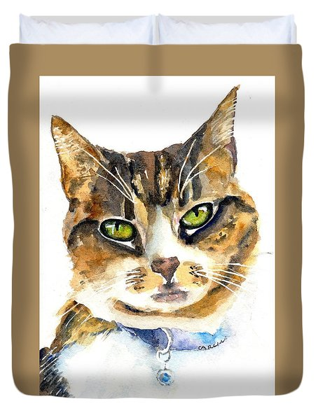 Brown Tabby Cat Watercolor Duvet Cover