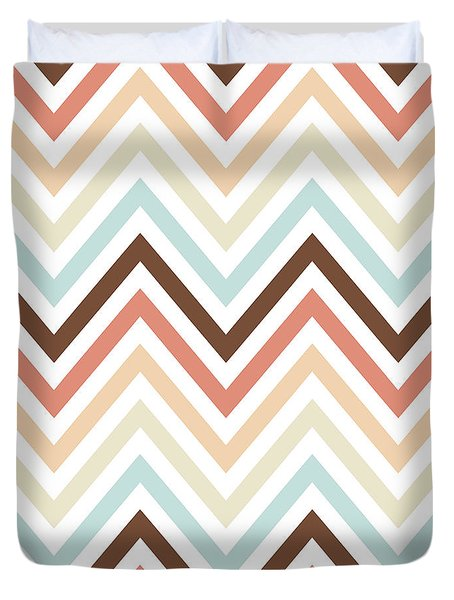 Brown Tan Chevron Pattern Duvet Cover by Bimbys Collections