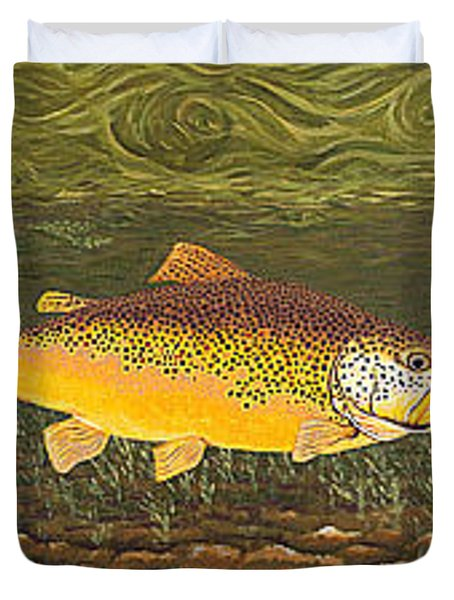 Brown Trout Fish Art Print Touch Down Brown Trophy Size Football Shape Brown Trout Angler Angling Duvet Cover by Baslee Troutman