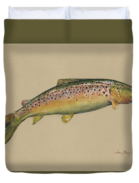 Brown Trout Jumping Duvet Cover by Juan Bosco