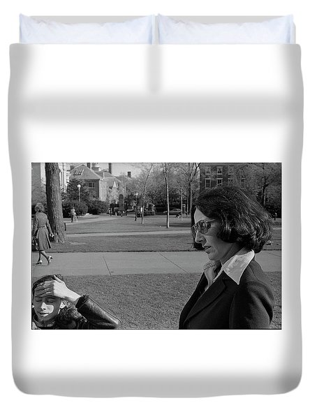 Brown University Student And His Mother, 1975 Duvet Cover