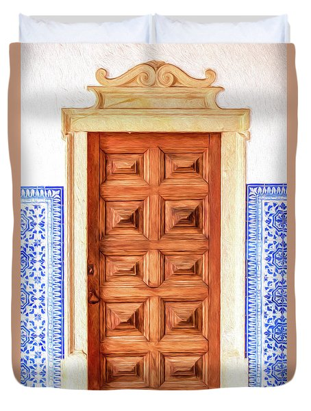 Brown Wood Door Of Old World Europe Duvet Cover