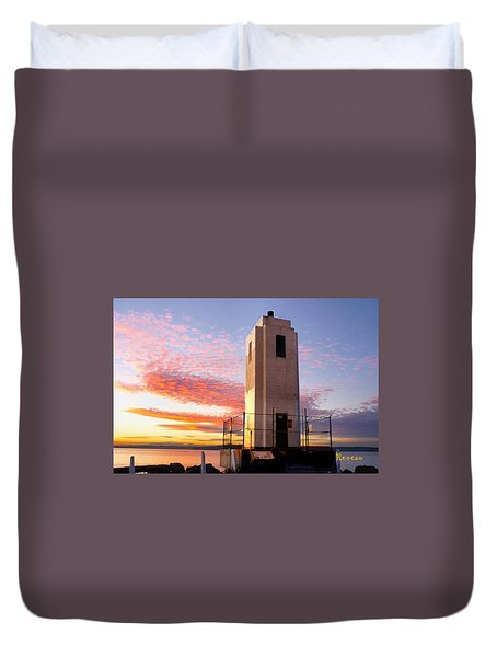 Browns Point Lighthouse - Northeast Tacoma W A Duvet Cover by Sadie Reneau