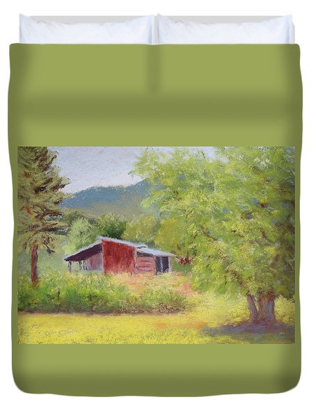 Duvet Cover featuring the painting Brown's Shed by Nancy Jolley