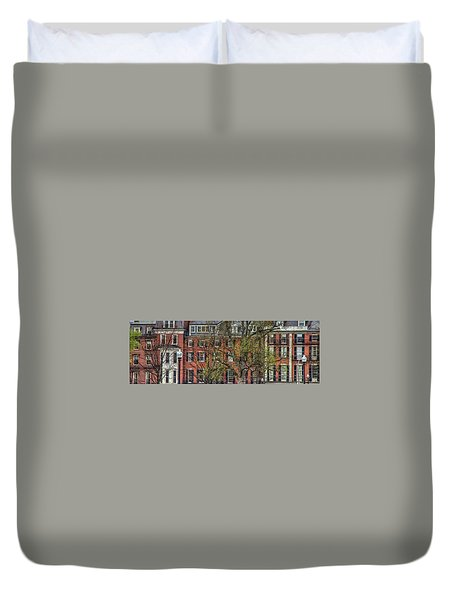 Duvet Cover featuring the photograph Brownstone Panoramic - Beacon Street Boston by Joann Vitali