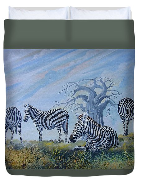 Duvet Cover featuring the painting Browsing Zebras by Anthony Mwangi