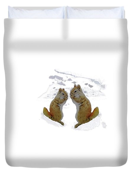 Duvet Cover featuring the photograph Brrr Just Chillin by Mike Breau