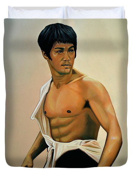 Bruce Lee Painting Duvet Cover by Paul Meijering