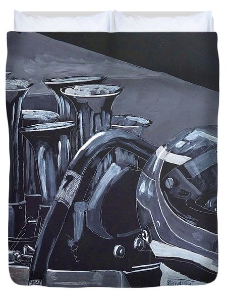 Duvet Cover featuring the painting Bruce Mclaren Canam by Richard Le Page