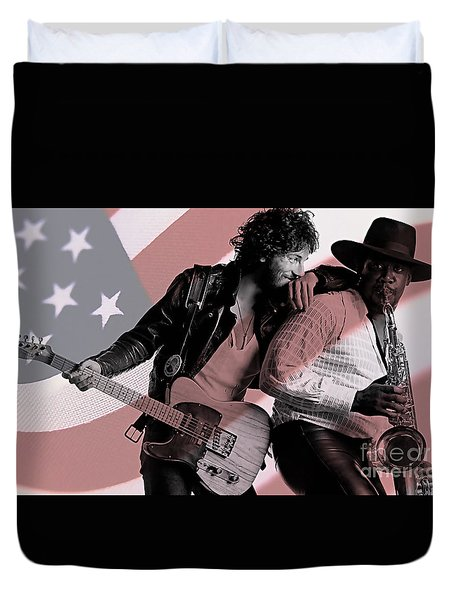 Bruce Springsteen Clarence Clemons Duvet Cover by Marvin Blaine