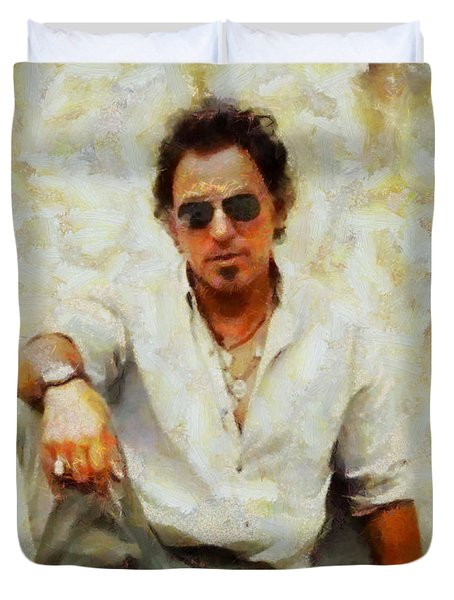 Duvet Cover featuring the painting Bruce Springsteen by Elizabeth Coats
