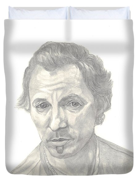 Duvet Cover featuring the drawing Bruce Springsteen Portrait by Carol Wisniewski
