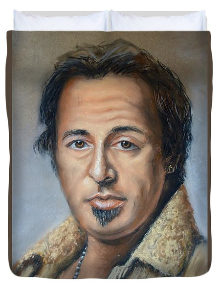 Duvet Cover featuring the photograph Bruce Springsteen Portrait by Melinda Saminski