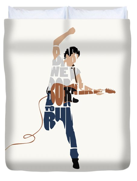 Bruce Springsteen Typography Art Duvet Cover