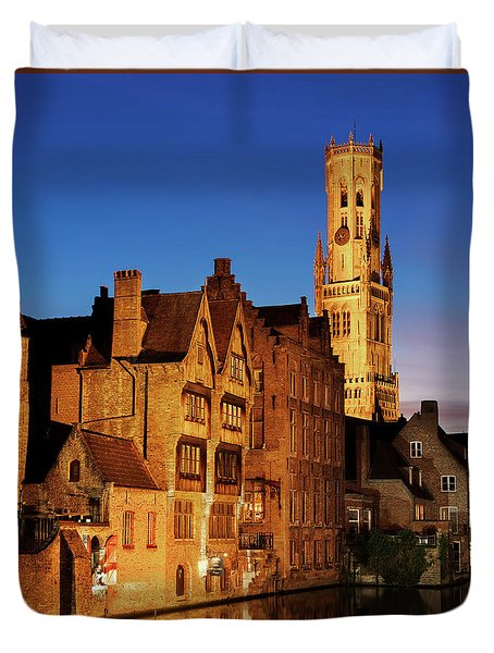 Duvet Cover featuring the photograph Bruges Belfry At Night by Barry O Carroll