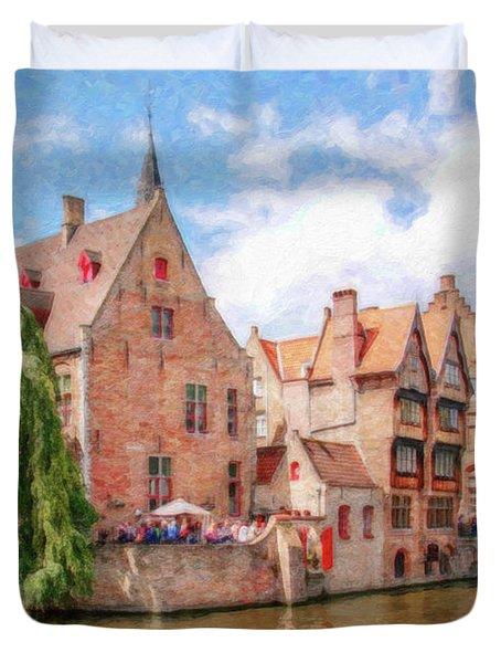 Bruges Canal Belgium Dwp-2611575 Duvet Cover