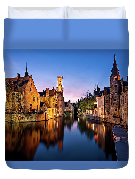 Duvet Cover featuring the photograph Bruges Canals At Blue Hour by Barry O Carroll