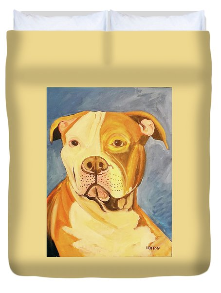 Duvet Cover featuring the painting Bruiser by John Keaton