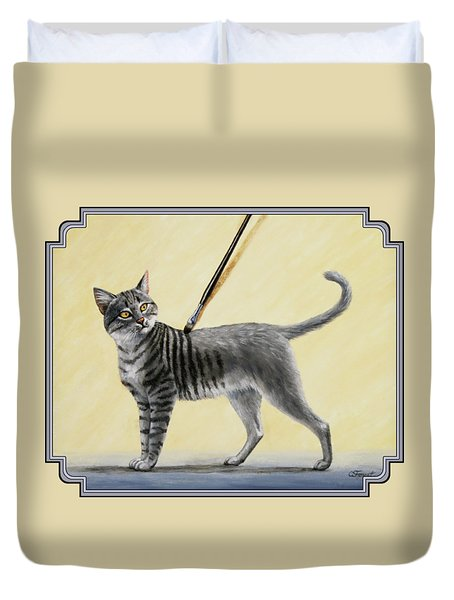Brushing The Cat - No. 2 Duvet Cover by Crista Forest