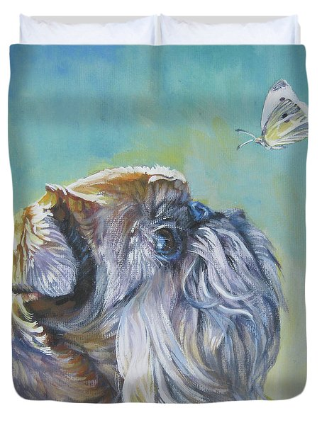 Brussels Griffon With Butterfly Duvet Cover by Lee Ann Shepard