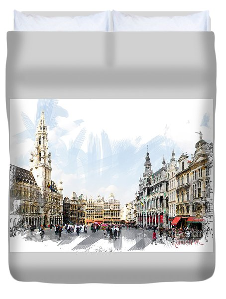 Brussels Grote Markt  Duvet Cover by Tom Cameron