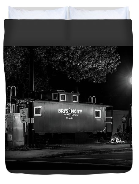 Bryson City  Caboose In Black And White Duvet Cover