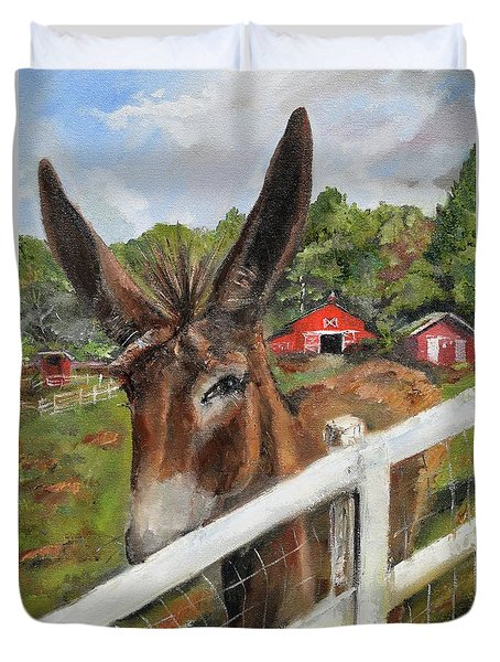 Duvet Cover featuring the painting Bubba - Steals The Show -donkey by Jan Dappen