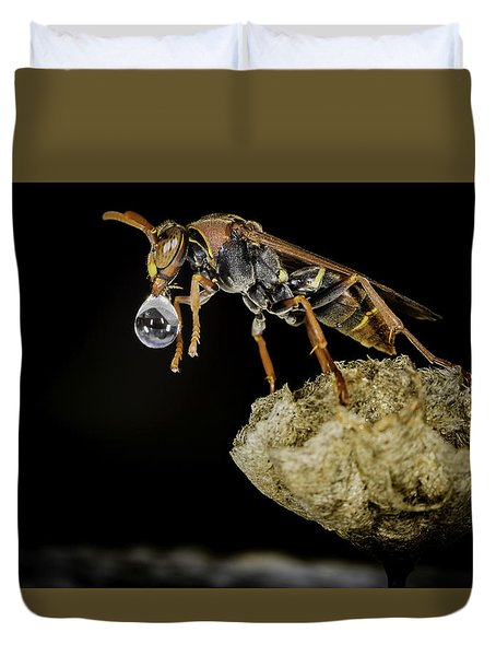 Bubble Blowing Wasp Duvet Cover