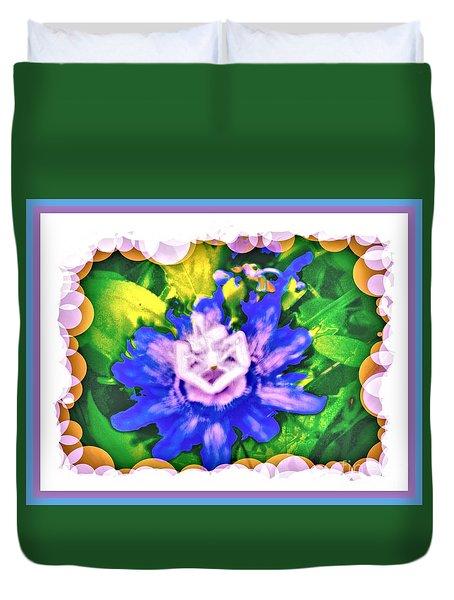 Bubble Border Passion Flower 2 Duvet Cover